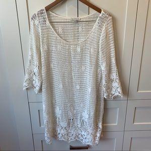 America Eagle White Long Sleeve Crochet Dress